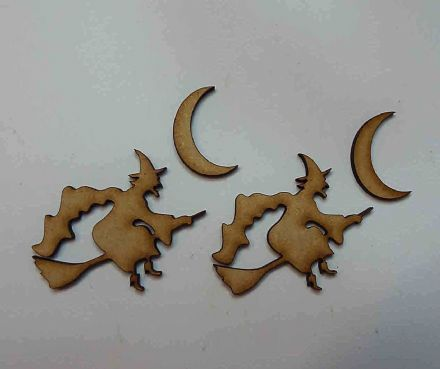 wooden craft WITCH & MOON shapes, laser cut 3mm mdf embellishment, decoupage,